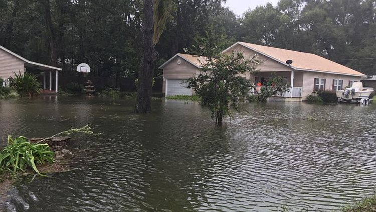 A downtown Alachua neighborhood were devotees live flooded severely
