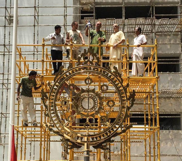 ISKCON News: 3,000 Pound Golden Chakra Installed on TOVP Planetarium