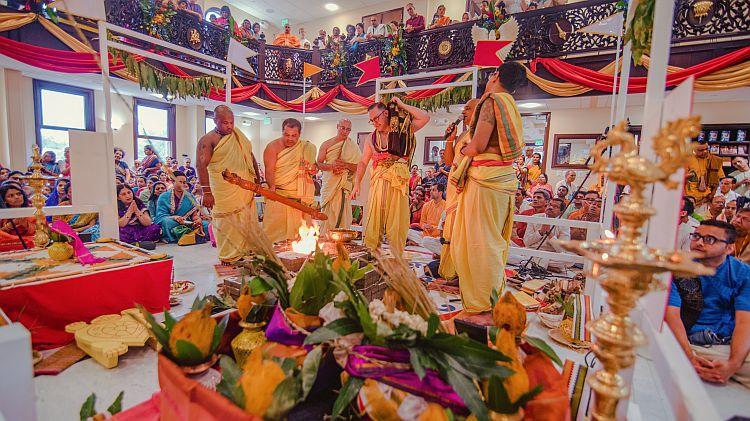 Priests perform elaborate yajnas