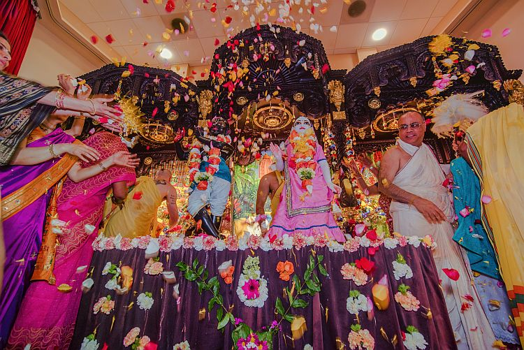 Radha-Madhava are showered with flowers