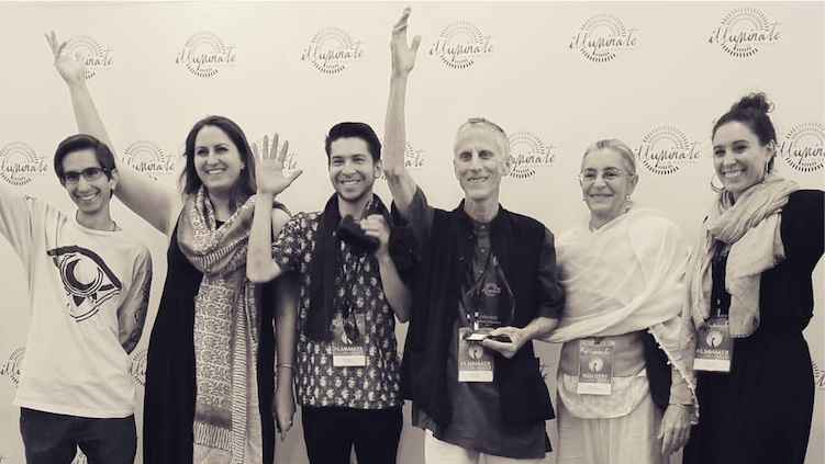 The Hare Krishna! team after winning their award