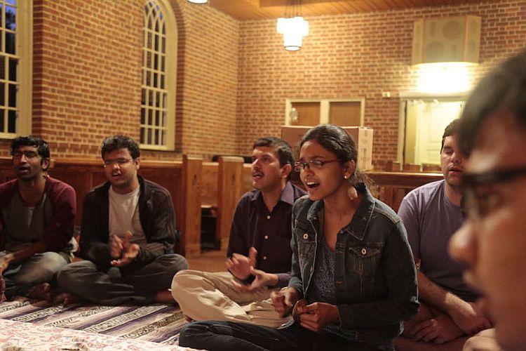 Students chant at Bhakti Yoga Club
