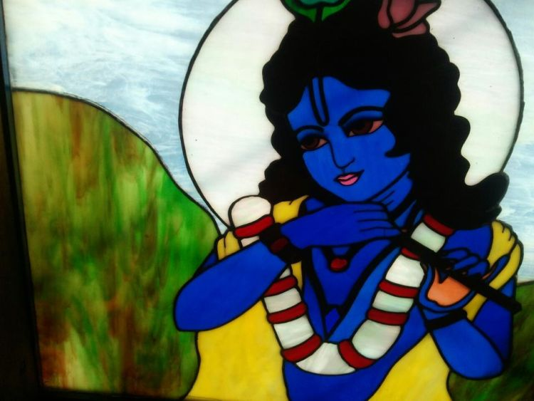 Stained glass of Krishna
