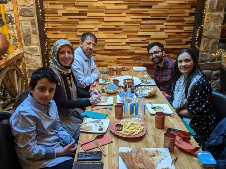 Amit and Maya Shah share a meal  with Kadirbhai, Ashegoul and Omer Demirlenk