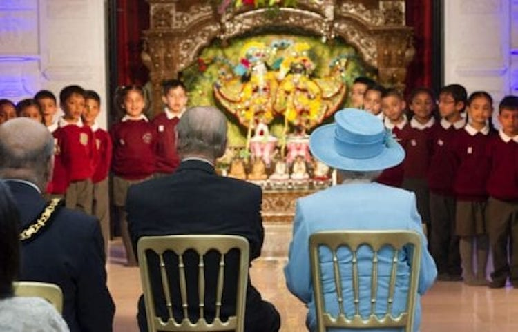 29th March 2012, the Duke of Edinburgh and the Queen visited the Krishna Avanti School during the year of her Diamond Jubilee. ISKCON is the school's faith affiliate and includes the beautiful deities of Krishna-Balaram.