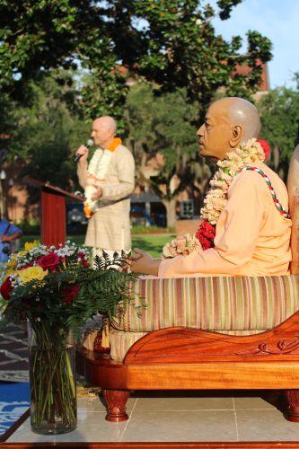 Srila Prabhupada looks out on the Plaza