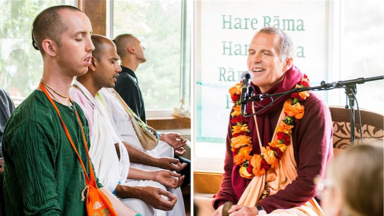 Sacinandana Swami guides devotees in their relationship with the Holy Name during the Living Name Retreat in New Vrindaban